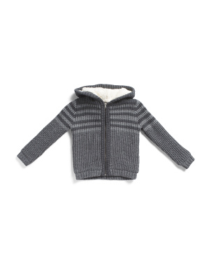 Little Boys Ribbed Hoodie Cardigan