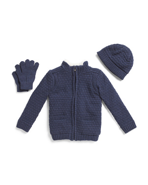 Toddler Boys 3pc Cardigan Hat & Glove Set