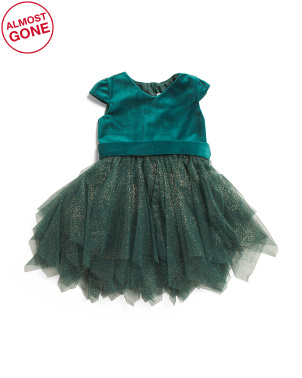 Toddler Girl's Velvet Glitter Mesh Hanky Hem Dress