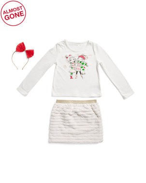 Little Girls 2pc Best Friends Christmas Top And Faux Fur Skirt Set