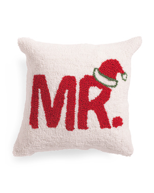 14x14 Hand Hooked Mr Claus Pillow