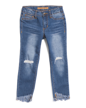 Little Girls Angled Step Hem Denim Jeans