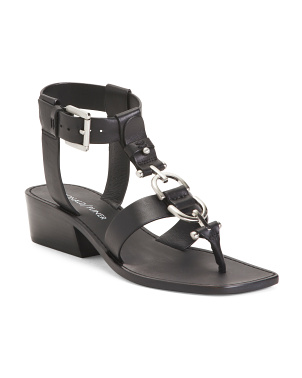 Leather T Strap Buckle Wedge Sandals