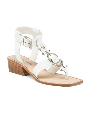T Strap Buckle Wedge Leather Sandals