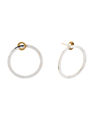 Made In Italy 14k Two Tone Gold Open Circle Earrings