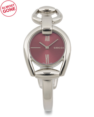 Women's Swiss Made Horsebit Bangle Watch With Red Dial