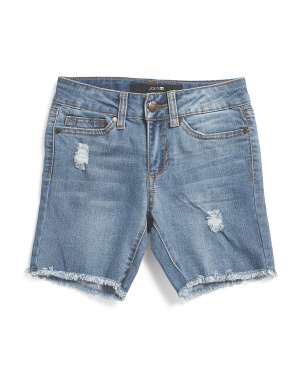 Big Girls Frayed Hem Stretch Denim Bermuda Shorts