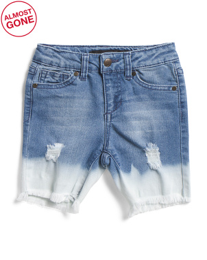 Little Girls Bleached Stretch Denim Bermuda Shorts