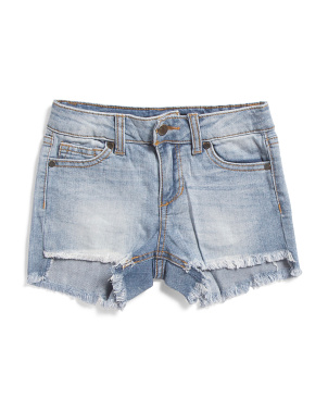 Little Girls Frayed Hem Stretch Denim Shorts