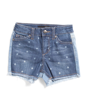 Little Girls Patchwork Stretch Denim Shorts