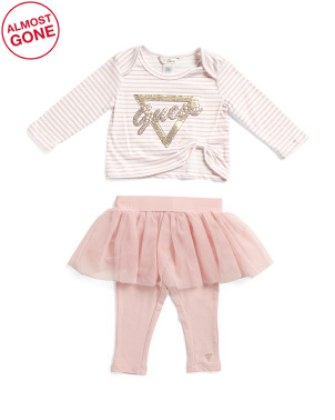 Infant Girls 2pc Striped Top And Skirt Set