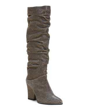Scrunch High Shaft Block Heel Boots