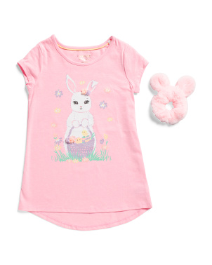 Little Girls Easter Bunny Top With Fuax Fur Bunny Scrunchie