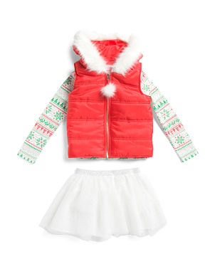 Girls 3pc Hooded Puffer Vest Skirt Set