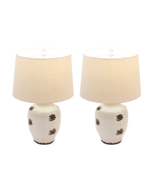 Set Of 2 24in Cream Ginger Jar Lamps
