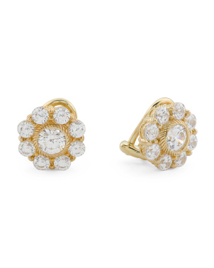 14k Gold Plated Sterling Silver Clip On Cz Flower Earrings
