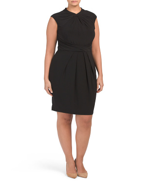 Plus Twist Neck  Pleat Waist Sheath Dress