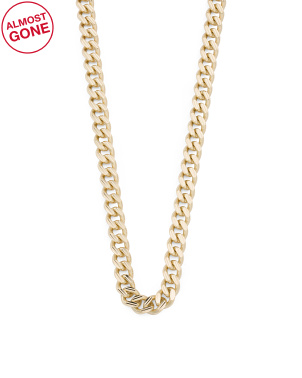 14k Gold Curb Bevel Diamond Cut Chain Necklace