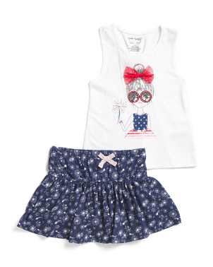 Girls Americana Girl Skort Set