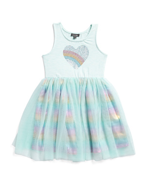 Little Girls Rainbow Heart Tutu Dress