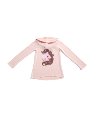 Big Girls Hooded Unicorn Top