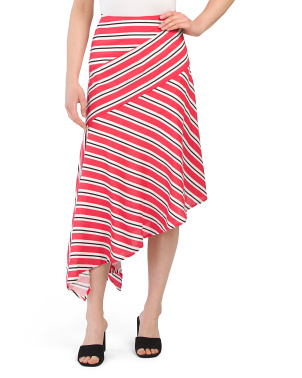 Juniors Striped Midi Skirt