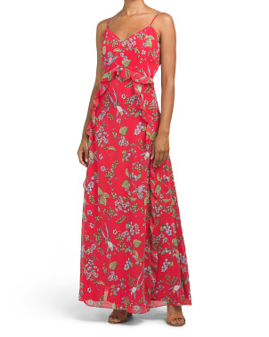 Spaghetti Strap Printed Chiffon Maxi Dress