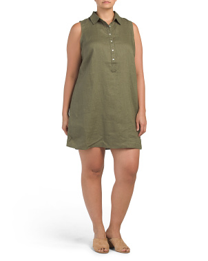 Plus Linen Sleeveless Dress