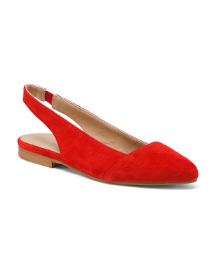 Made In Italy Pointy Suede Sling Flats