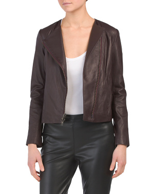 Cross Front Leather Jacket
