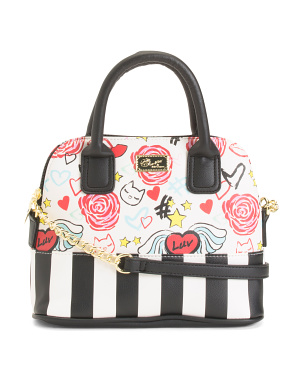 Small Printed Design Crossbody Satchel