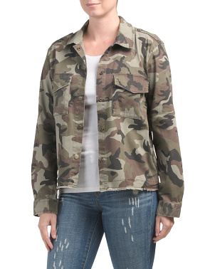 Camo Print Snap Front Utility Jacket