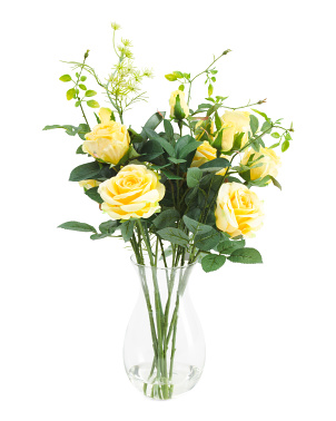 20in Roses In Bulb Glass