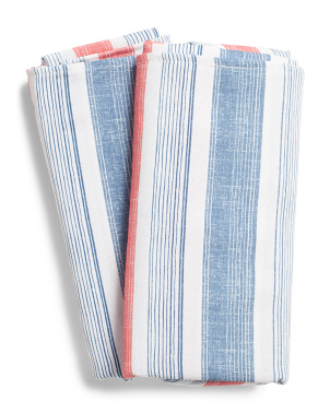Set Of 12 Indoor Outdoor Striped Napkins