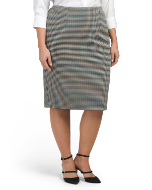 Plus  Houndstooth Pencil Skirt