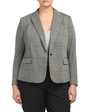 Plus Plaid Notch Collar Jacket