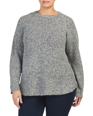 Plus Round Hem Pullover Boucle Sweater