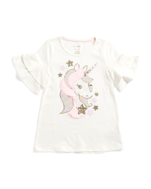 Girls Reversible Sequin Faux Fur Unicorn Top