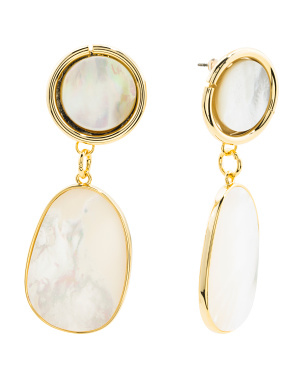 Mother Of Pearl And Gold Tone Double Drop Earrings