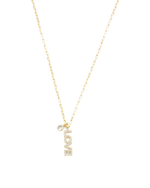 Gold Plated Sterling Silver Pave Cz Love Necklace