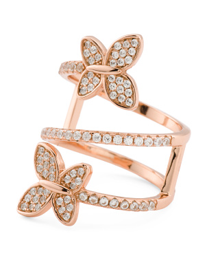 Rose Gold Plated Sterling Silver Cz Butterfly Ring