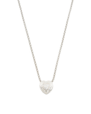 Sterling Silver Pave Cz Filigree Heart Necklace