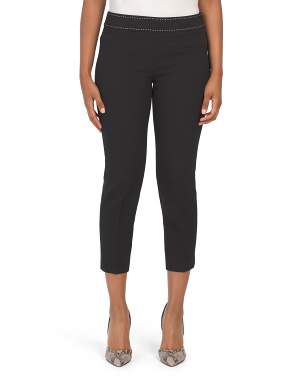Petite Side Zip Slim Crop Pants