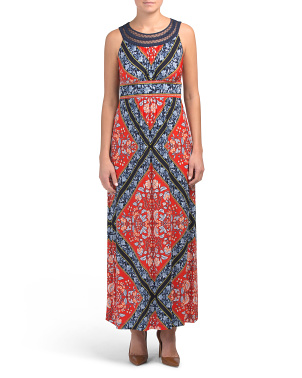 Petite Printed Maxi Dress With Corded Neckline