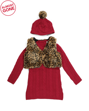 Toddler Girls 2pc Cable Sweater Dress With Vest And Beanie