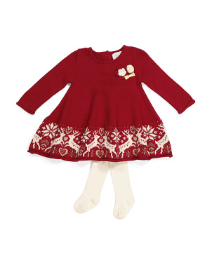 Infant Girls Reindeer Full Skirt Sweater Dress With Tights