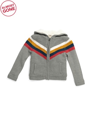 Toddler & Little Boys Retro Cardigan With Faux Sherpa Lining