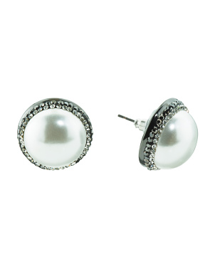Mother Of Pearl And Crystal Stud Earrings