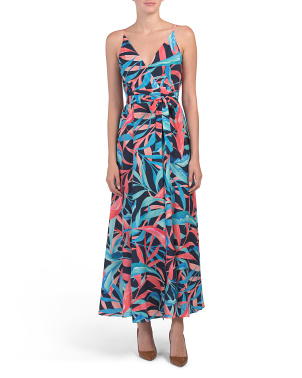 Petite Wrap Tropical Print Maxi Dress
