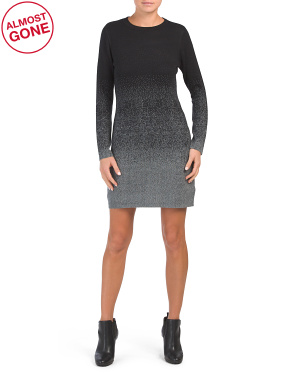 Long Sleeve Ombre Crew Neck Sweater Dress